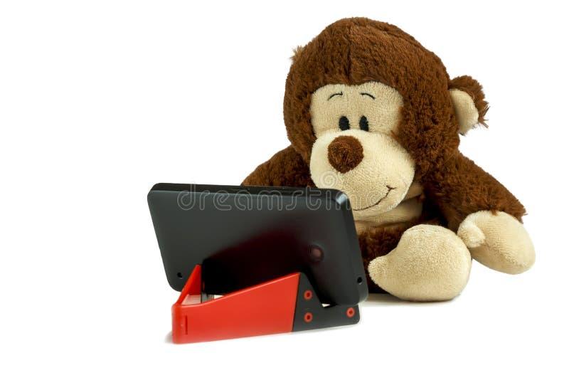 Малая обезьяна сидит и вытаращится на smartphone Smartphone на красной стойке Изолированное фото стоковая фотография rf