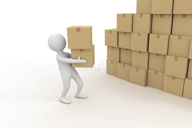 малая персона 3d и куча картонных коробок иллюстрация вектора
