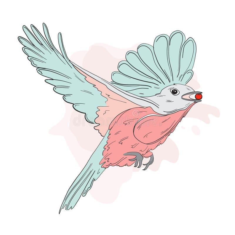Малая птица подавая с красной иллюстрацией осени ягоды Chickadee эскиза зимы держа калину Печать живой природы природы иллюстрация вектора