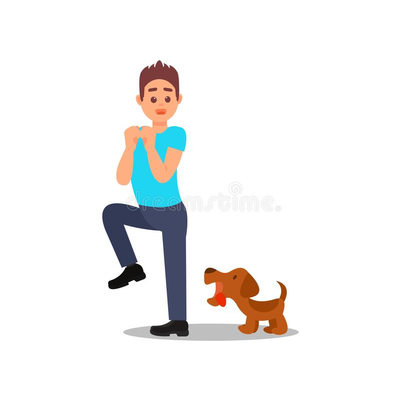 Малая сердитая собака лаяя на человеке Молодой парень в ситуации стресса Мужской характер с вспугнутым выражением стороны Плоский иллюстрация вектора