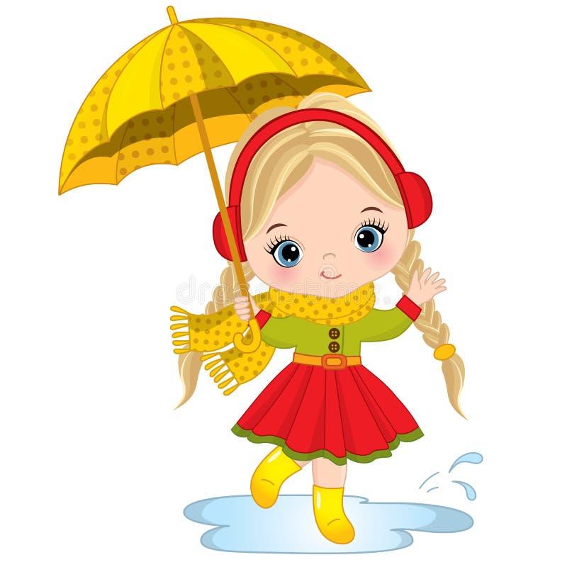 Маленькая девочка вектора милая с зонтиком бесплатная иллюстрация