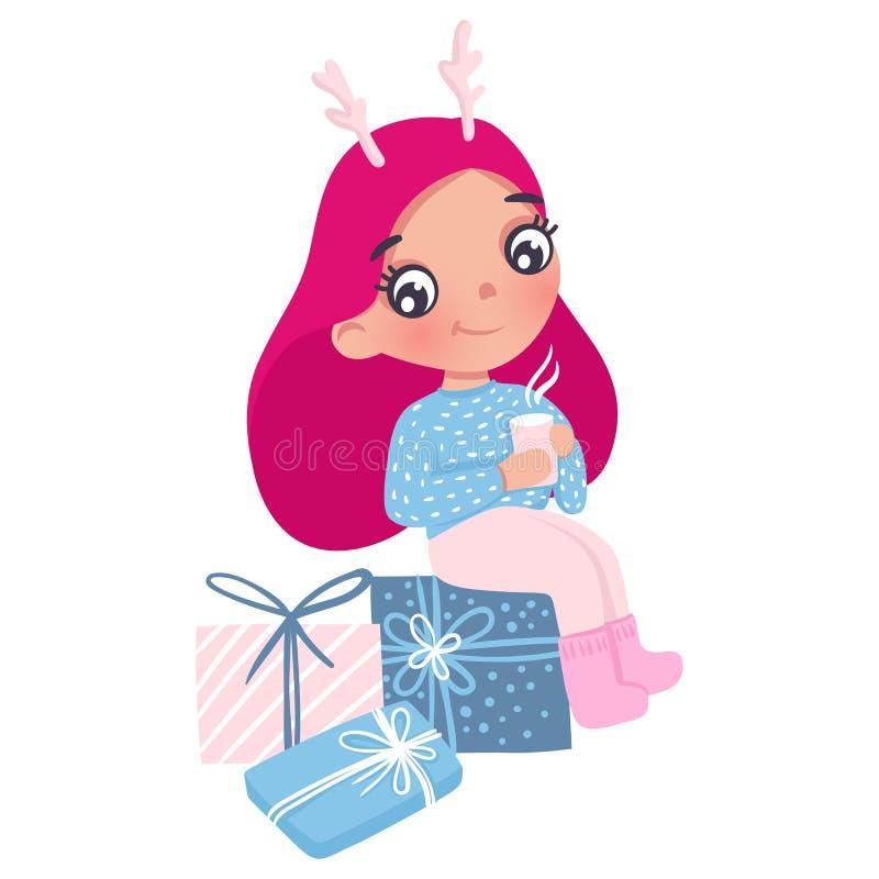 Маленькая девочка вектора милая с игрушкой Нового Года характер милый бесплатная иллюстрация
