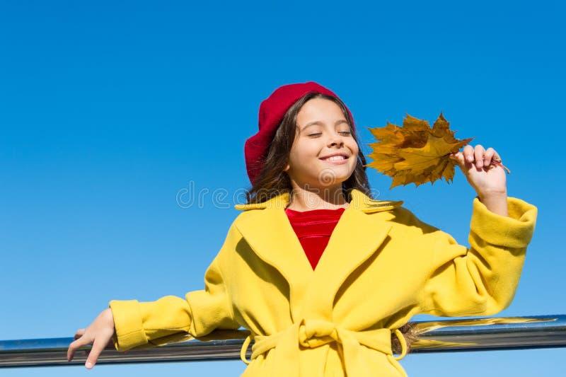 Маленькая девочка возбужденная о сезоне осени Моменты теплого сезона осени приятные Владение стороны девушки ребенк усмехаясь вых стоковое изображение rf