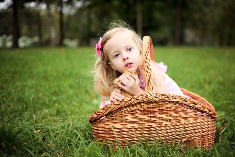 Маленькая девочка в красивейшем платье в корзине в PA лета стоковые изображения rf