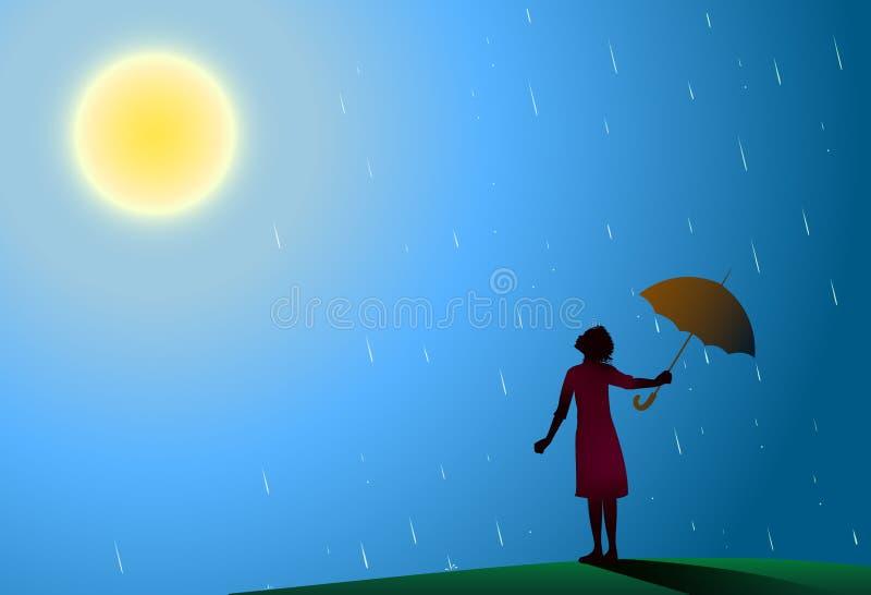 Маленькая девочка в красном платье стоя в дожде вытягивает в сторону красный зонтик для того чтобы посмотреть яркое солнце, идет  иллюстрация вектора