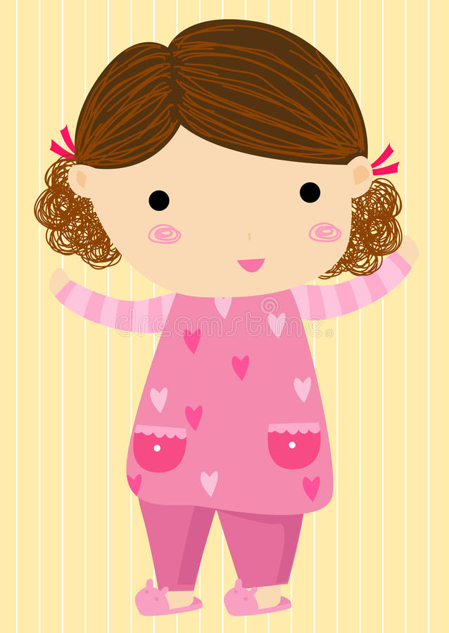 Маленькая девочка в пижамах иллюстрация штока