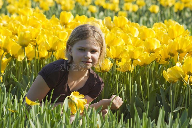 Маленькая девочка в поле тюльпанов стоковые изображения rf