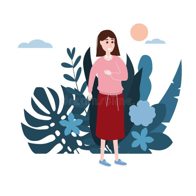 Маленькая девочка в розовом свитере идет около его дело E Мультфильмы дизайна тенденции плоские бесплатная иллюстрация