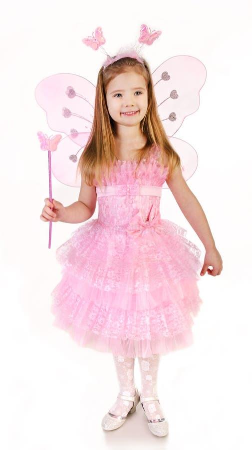 Маленькая девочка в fairy костюме на белизне стоковые изображения rf