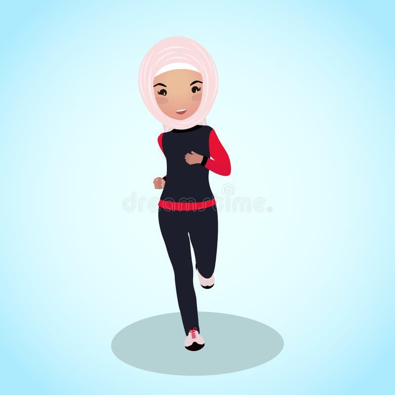 Маленькая девочка в tracksuit abaya Бег раннего утра иллюстрация вектора