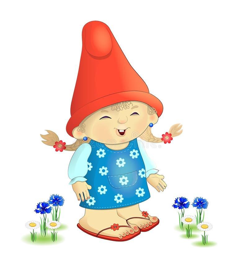 Маленькая девочка гнома сада характера бесплатная иллюстрация