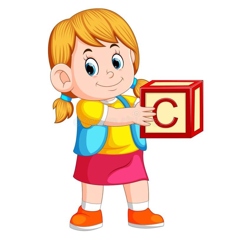 Маленькая девочка держа куб алфавита бесплатная иллюстрация