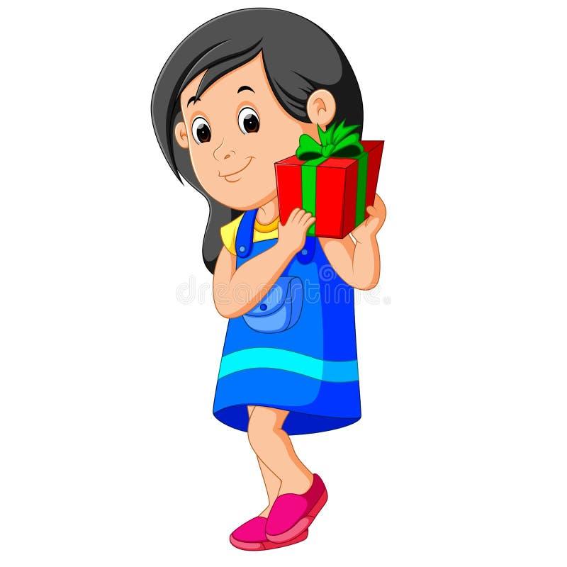 Маленькая девочка держа подарочную коробку бесплатная иллюстрация
