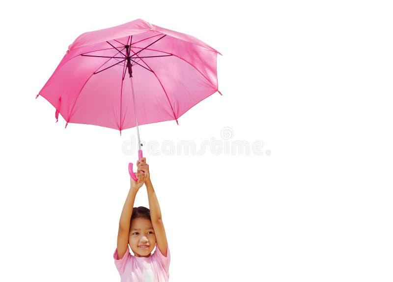 Маленькая девочка держит зонтик стоковое изображение rf