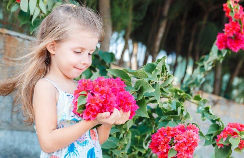 Маленькая девочка держит красивые розовые цветки будуара стоковые изображения