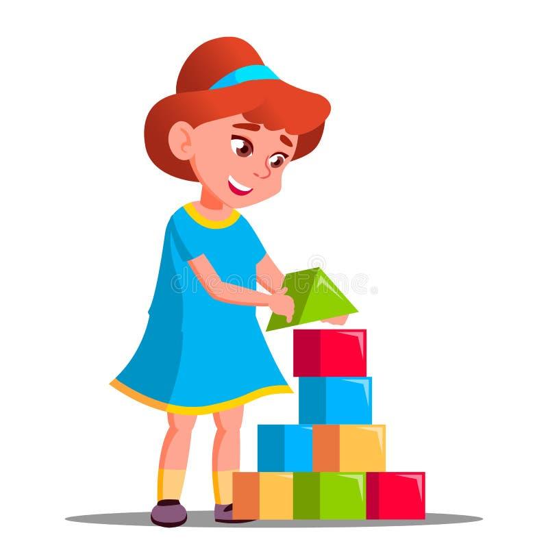 Маленькая девочка играя в векторе строительных блоков изолированная иллюстрация руки кнопки нажимающ женщину старта s иллюстрация вектора