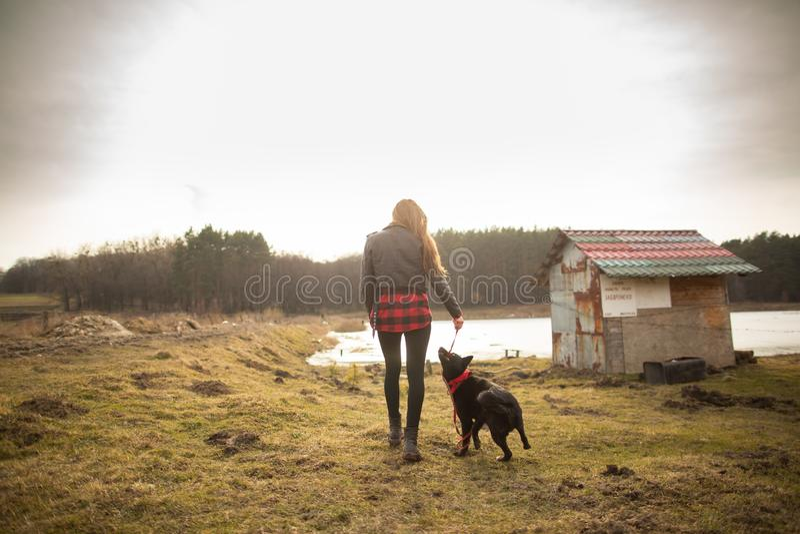 Маленькая девочка идет с ее собакой на береге озера E стоковое изображение rf