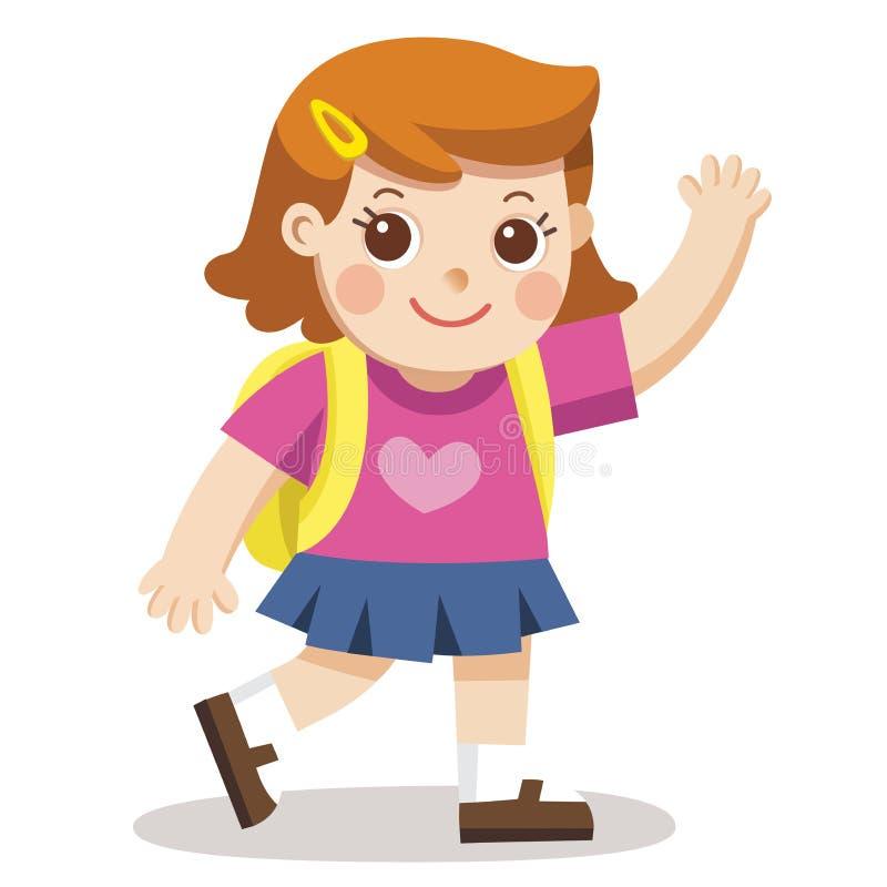 Маленькая девочка идя к школе с пакетом сумки иллюстрация штока
