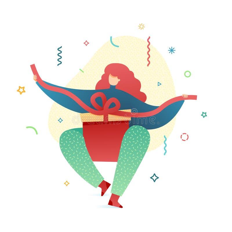 Маленькая девочка иллюстрации Нового Года дизайна счастливая создавая программу-оболочку настоящие моменты Милый плоский женский  иллюстрация штока