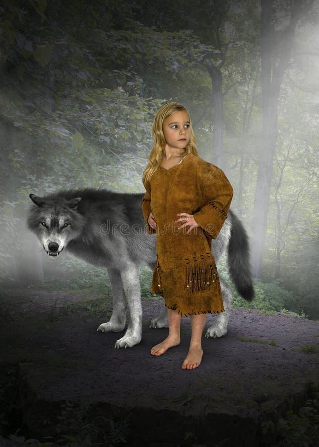 Маленькая девочка, индийская принцесса, волк стоковое фото