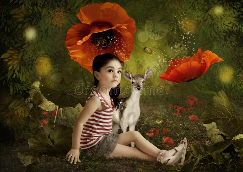Маленькая девочка и маленькие олени стоковая фотография rf