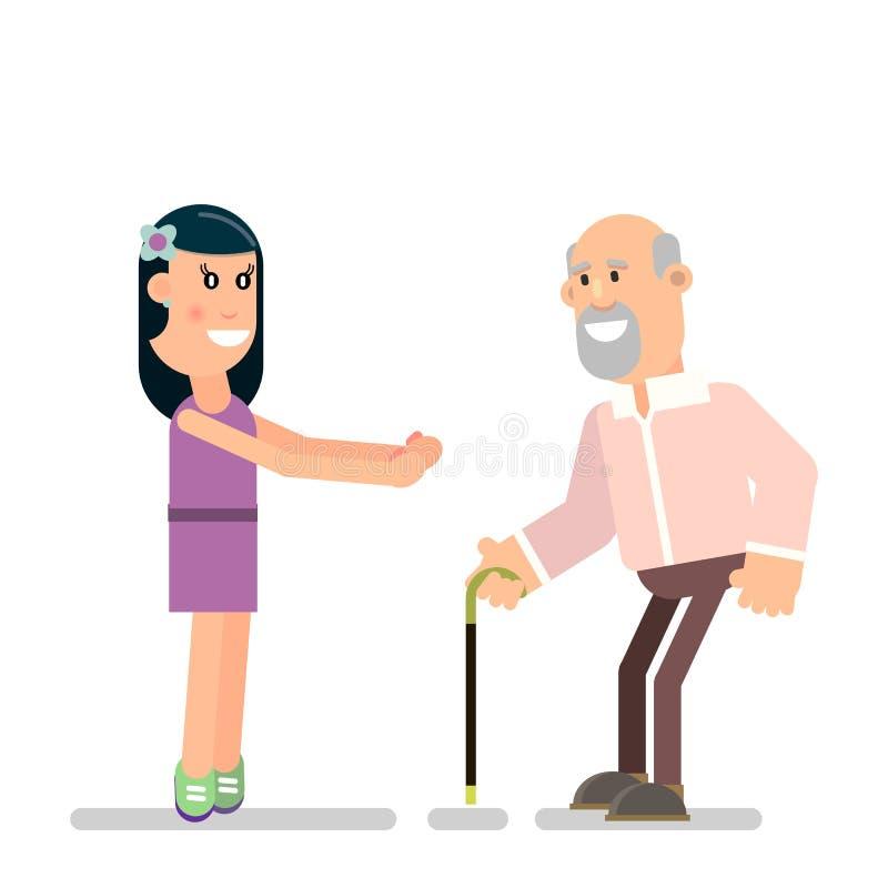 Маленькая девочка и старый отец бесплатная иллюстрация
