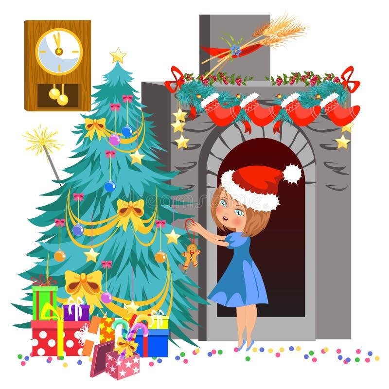 Маленькая девочка мультфильма в красной шляпе украшая рождественскую елку иллюстрация штока