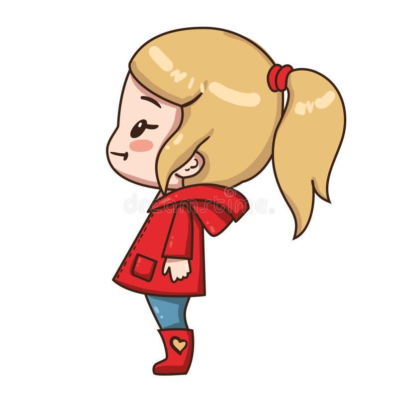 Маленькая девочка мультфильма с ponytail иллюстрация штока