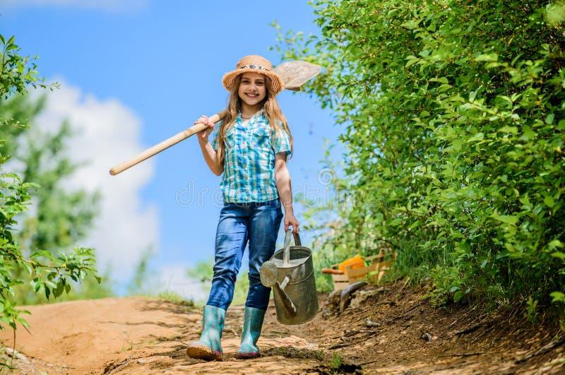 Маленькая девочка на ранчо обрабатывать землю лета маленькая девочка фермера садовые инструменты, лопаткоулавливатель и моча конс стоковая фотография rf