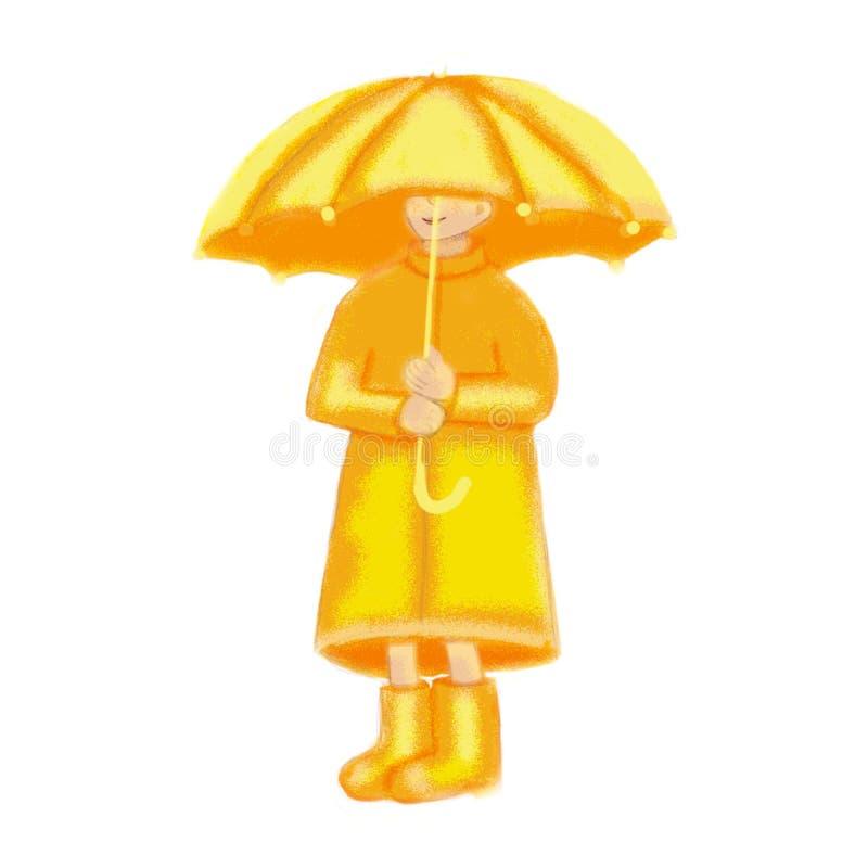 Маленькая девочка под зонтиком иллюстрация штока