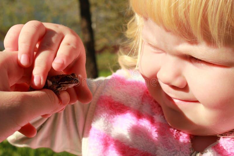 Маленькая девочка получает знакомой с живой природой - одичалой лягушкой стоковые фотографии rf