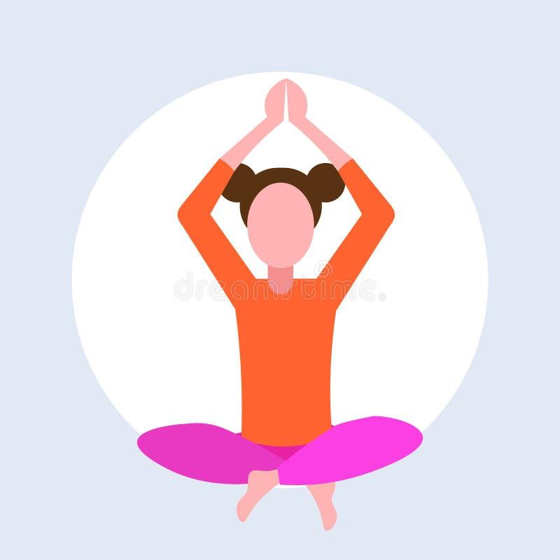 Маленькая девочка представления лотоса случайной женщины сидя делая персонаж из мультфильма концепции раздумья тренировок йоги же бесплатная иллюстрация