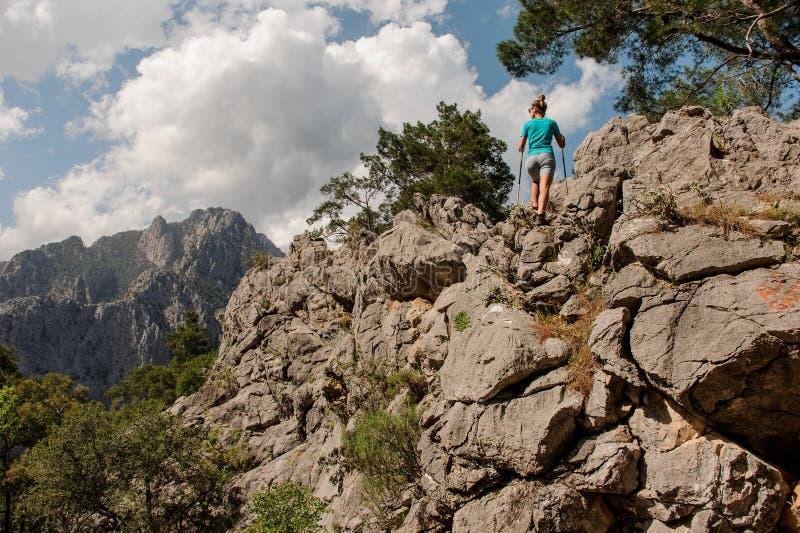 Маленькая девочка представляет поверх горы стоковые фотографии rf