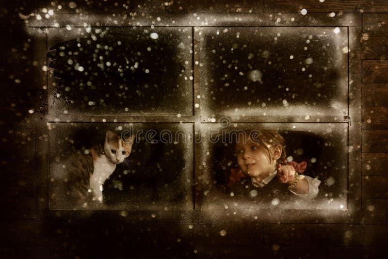 Маленькая девочка при кот наблюдая, как снег упал стоковая фотография
