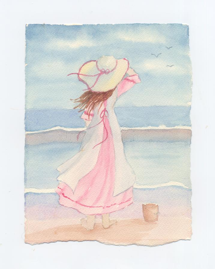 Маленькая девочка при Sunhat смотря море - первоначально акварель иллюстрация штока