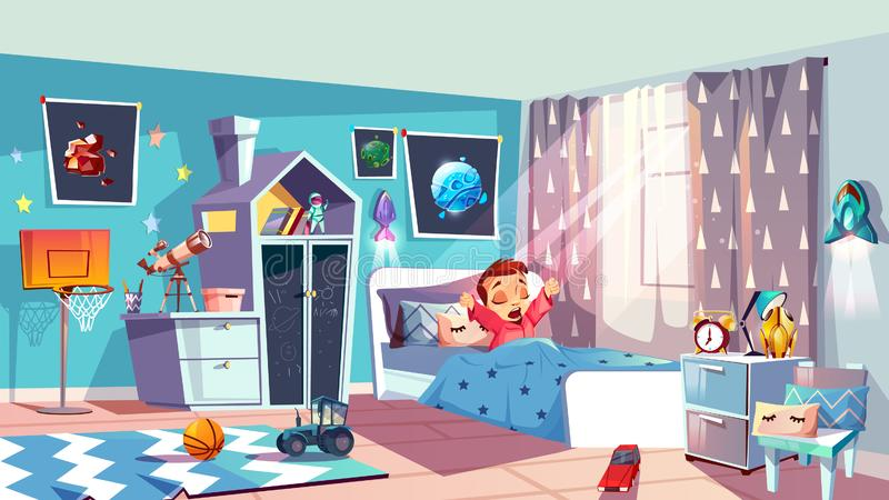 Маленькая девочка просыпая вверх в векторе спальни бесплатная иллюстрация