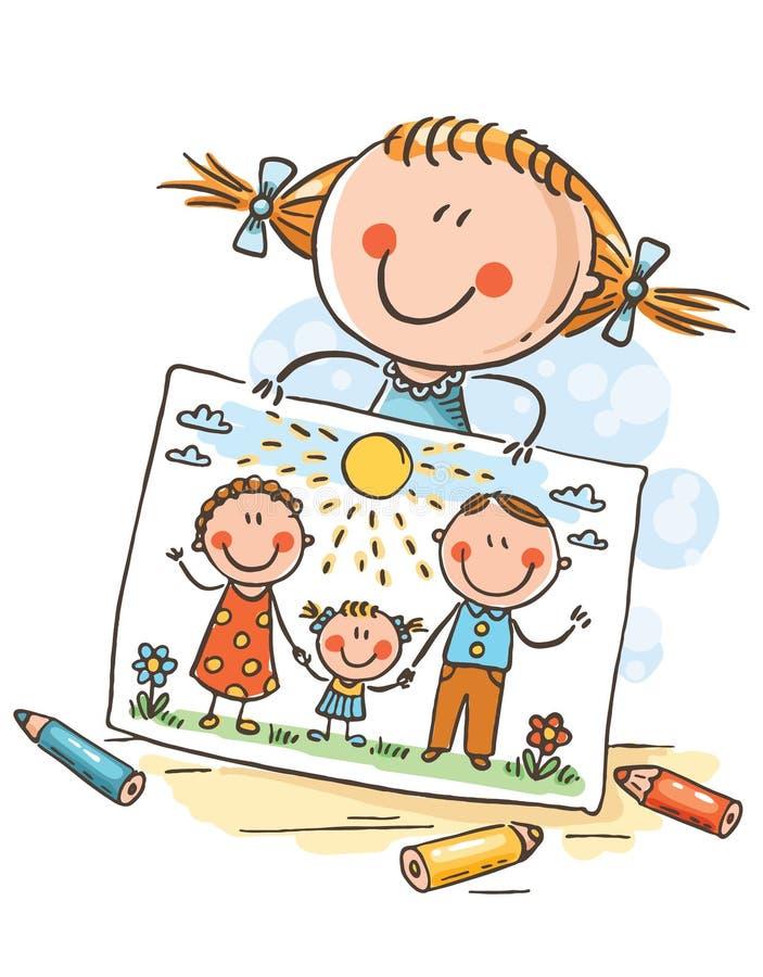 Маленькая девочка рисовала изображение ее семьи иллюстрация вектора