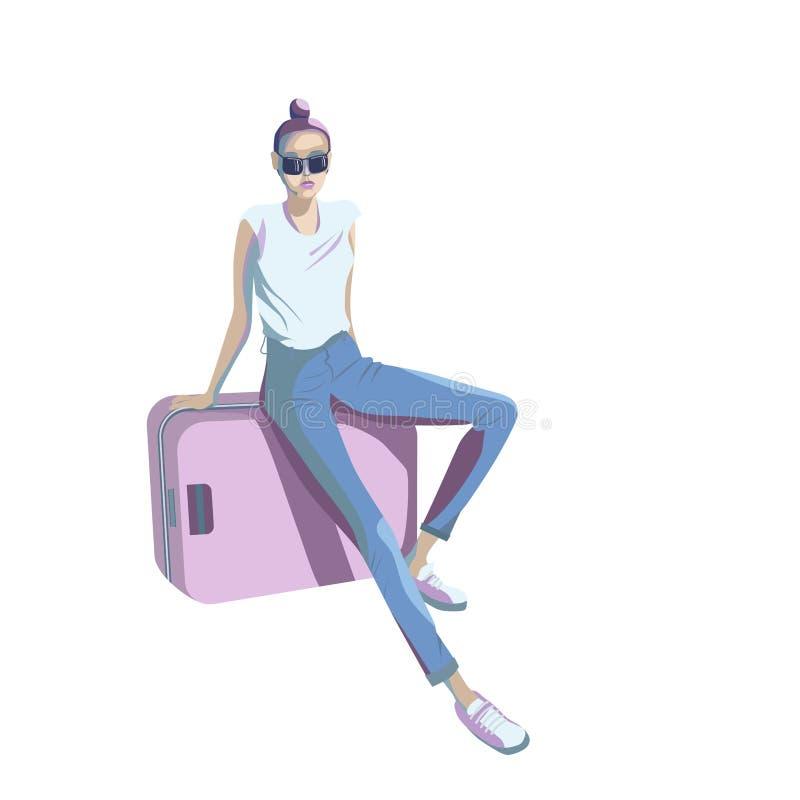 Маленькая девочка сидит на чемодане в зале ожидания станции, аэропорта иллюстрация штока
