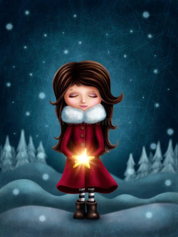 Маленькая девочка с звездой иллюстрация штока