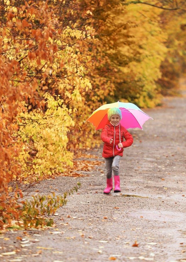 Маленькая девочка с зонтиком принимая прогулку в парке осени стоковая фотография