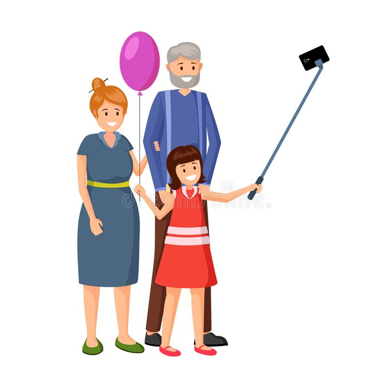 Маленькая девочка с иллюстрацией вектора дедов иллюстрация вектора