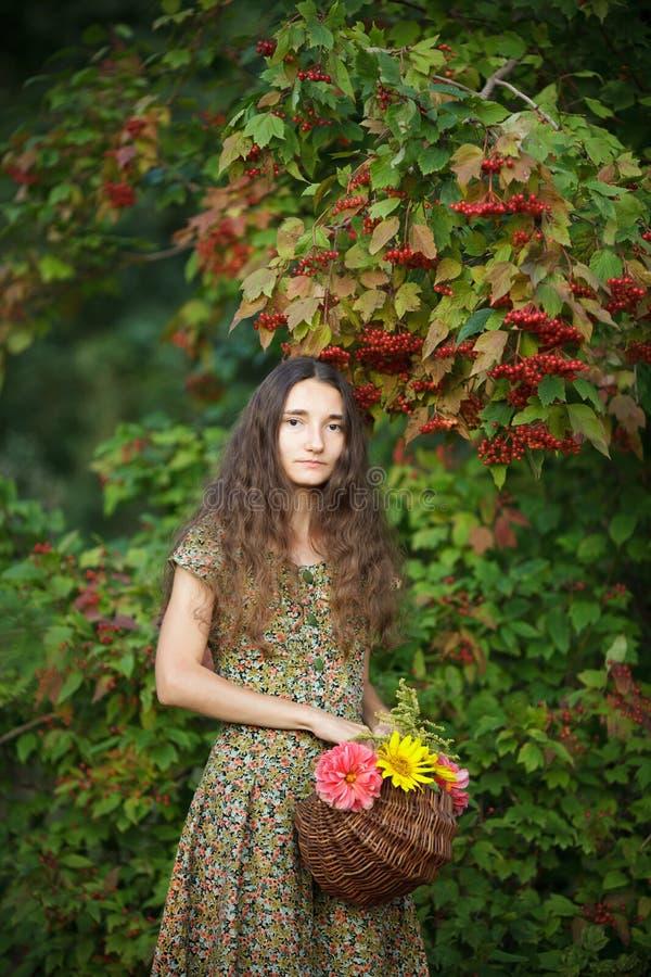 Маленькая девочка с корзиной цветков на предпосылке калины стоковое изображение rf