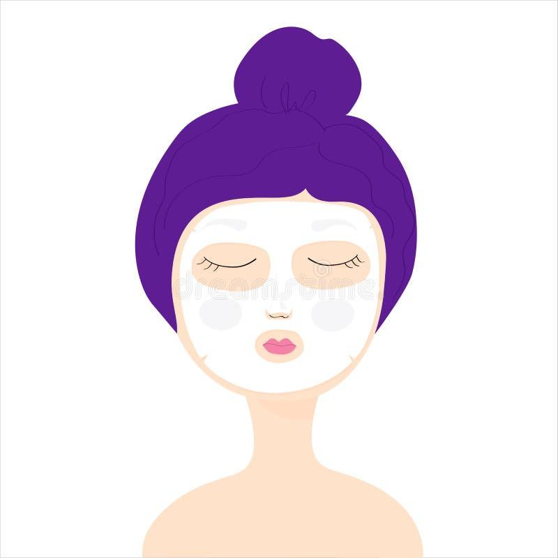 Маленькая девочка с косметическим лицевым щитком гермошлема ткани девушка с глазами закрыла бесплатная иллюстрация