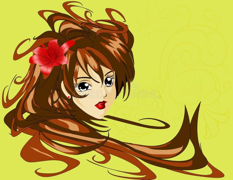 Маленькая девочка с красной лилией в волосах бесплатная иллюстрация