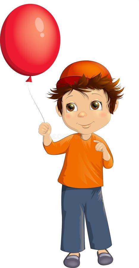 Маленькая девочка с красным воздушным шаром иллюстрация штока