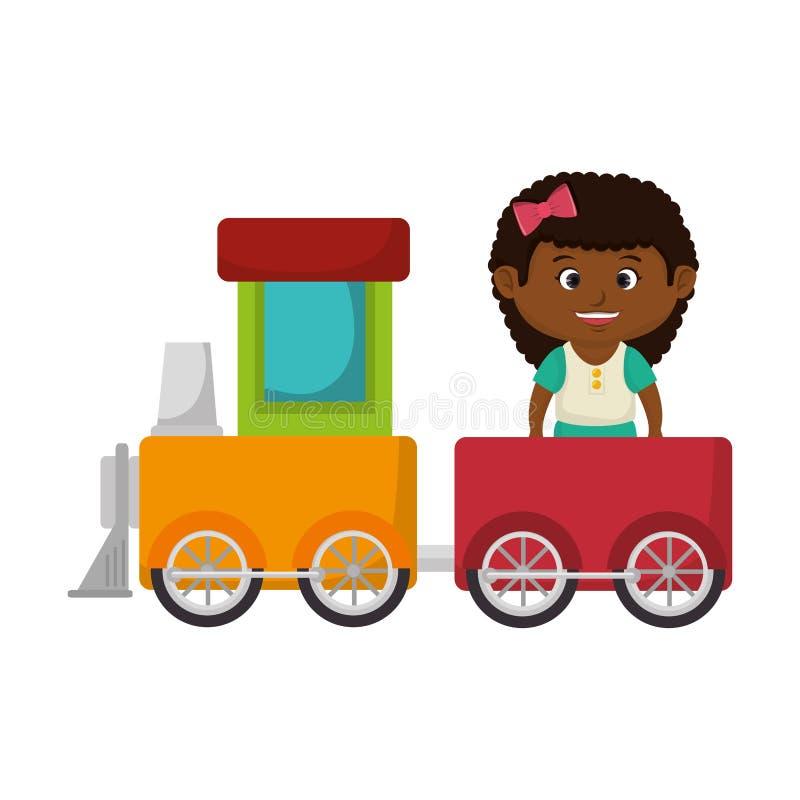 Маленькая девочка с поездом бесплатная иллюстрация
