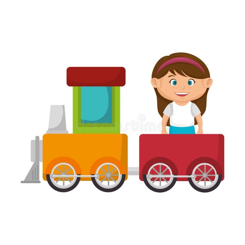 Маленькая девочка с поездом иллюстрация вектора