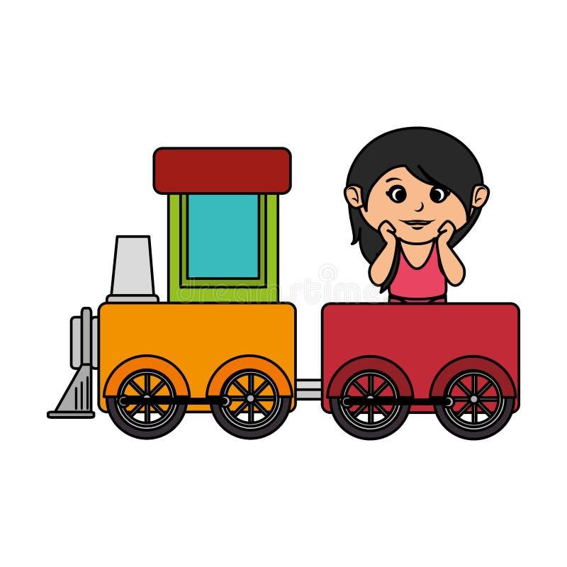 Маленькая девочка с поездом иллюстрация штока