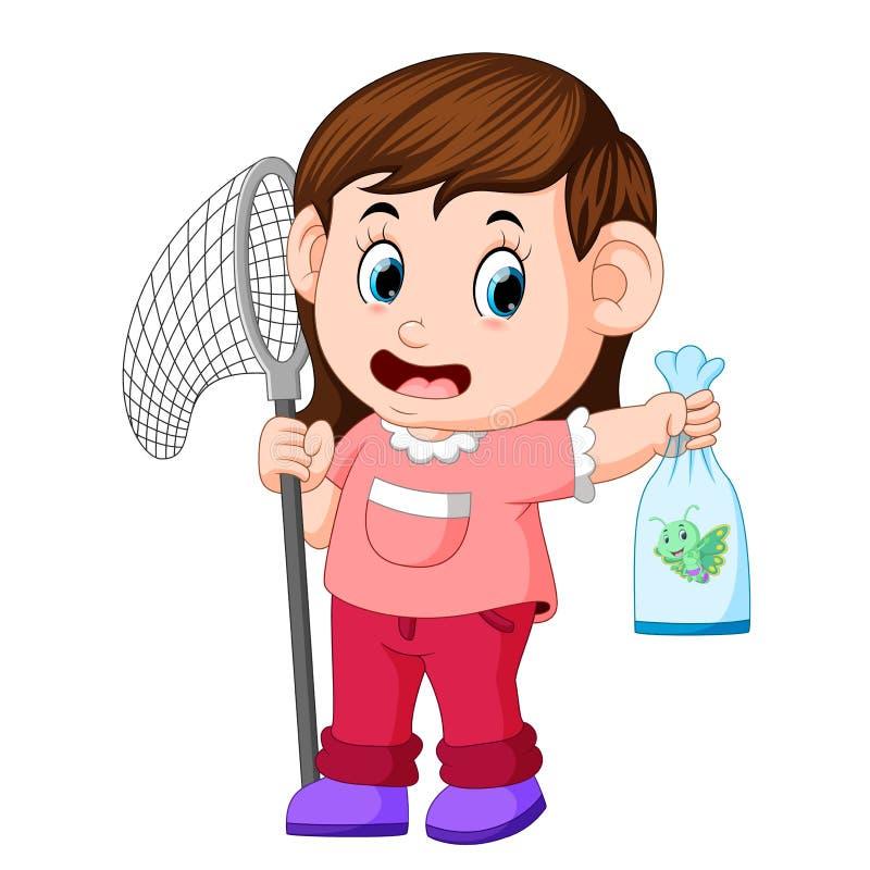 Маленькая девочка с сетью бабочки заразительная бабочка иллюстрация вектора