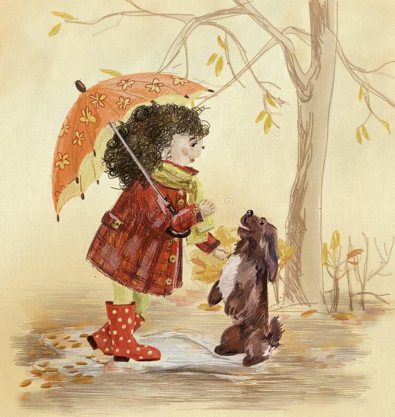 Маленькая девочка с собакой иллюстрация вектора